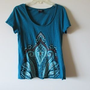Lucky Brand Large Thin Lightweight Teal Shirt